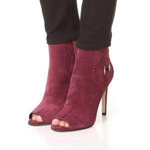 Rebecca Minkoff Ridley suede peep toe booties